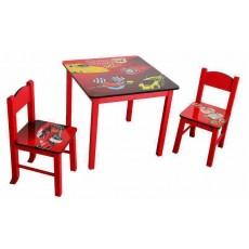 Набор детский стол + 2 стула Бюрократ KidSet-01/Cars столешница:красный МДФ 59.5х59.5х53.3/28х30х30/57см