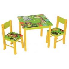 Набор детский стол + 2 стула Бюрократ KidSet-01/Jungle столешница:зеленый МДФ 59.5х59,5х53,3/28х30х30/57см