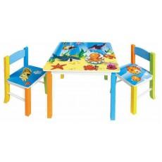 Набор детский стол + 2 стула Бюрократ KidSet-01/Ocean столешница:синий МДФ 59.5х59,5х53,3/28х30х30/57см