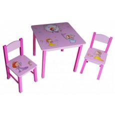Набор детский стол + 2 стула Бюрократ KidSet-01/Princ столешница:розовый МДФ 59.5х59,5х53,3/28х30х30/57см